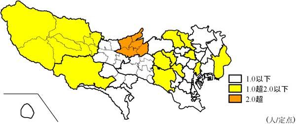 流行分布の地図
